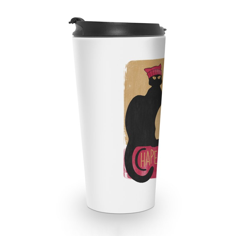 Persistance du Chat Noir avec Chapeau Rose Accessories Travel Mug by Gritty Knits