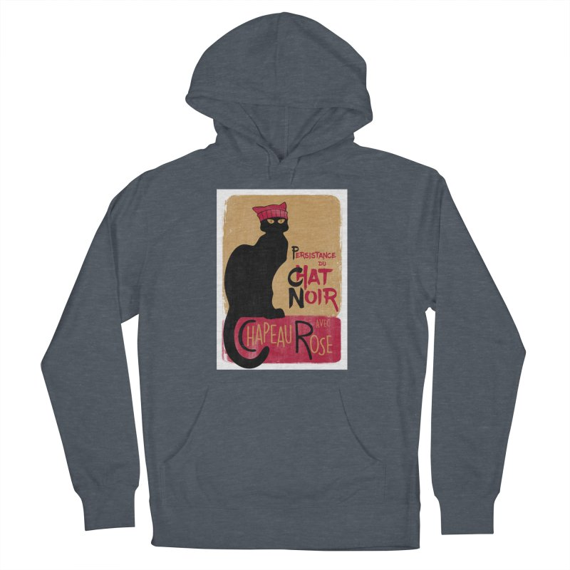 Persistance du Chat Noir avec Chapeau Rose Women's French Terry Pullover Hoody by Gritty Knits