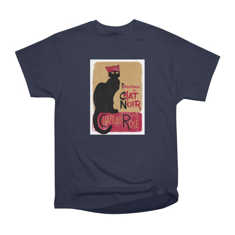Persistance du Chat Noir avec Chapeau Rose Men's Heavyweight T-Shirt by Gritty Knits