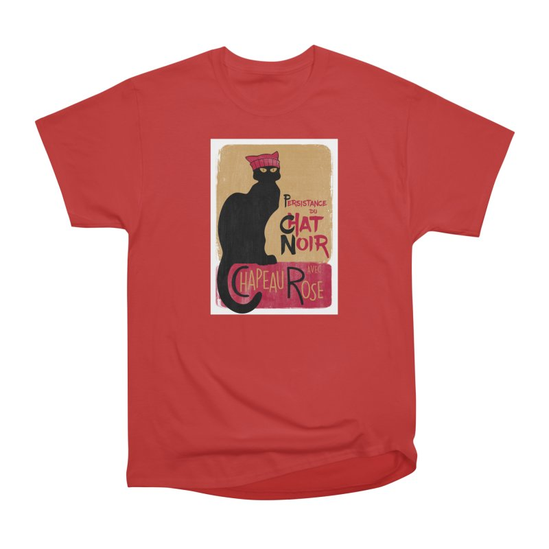 Persistance du Chat Noir avec Chapeau Rose Men's Heavyweight T-Shirt by Gritty Knits
