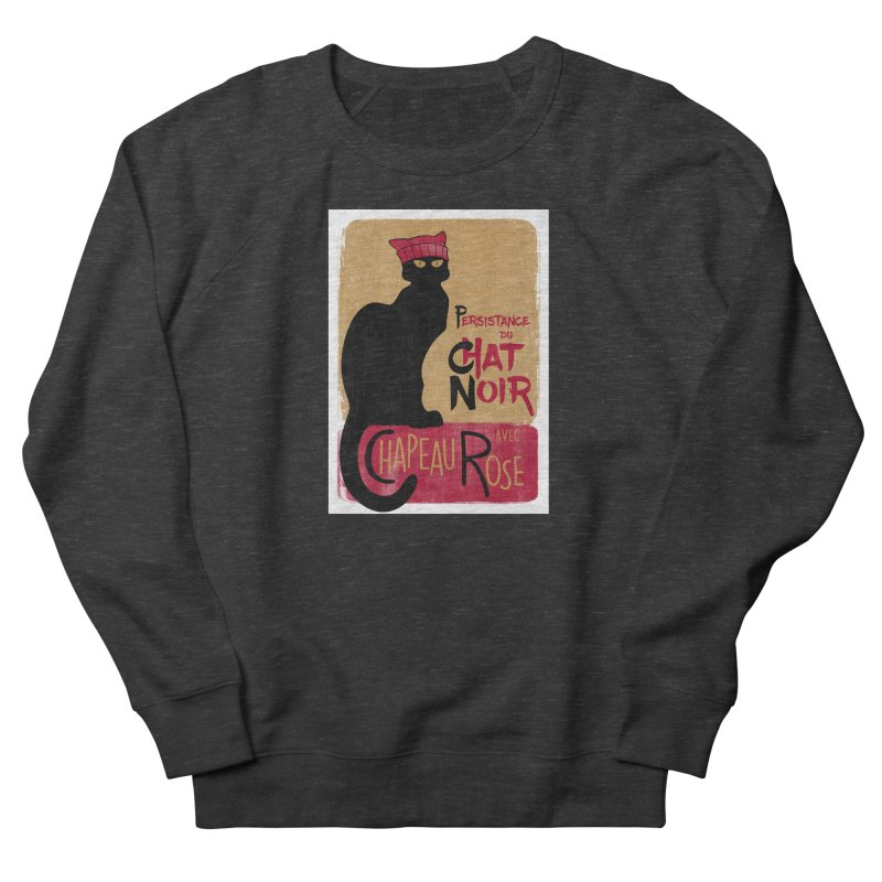 Persistance du Chat Noir avec Chapeau Rose Women's French Terry Sweatshirt by Gritty Knits