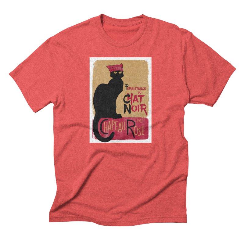 Persistance du Chat Noir avec Chapeau Rose Men's Triblend T-Shirt by Gritty Knits