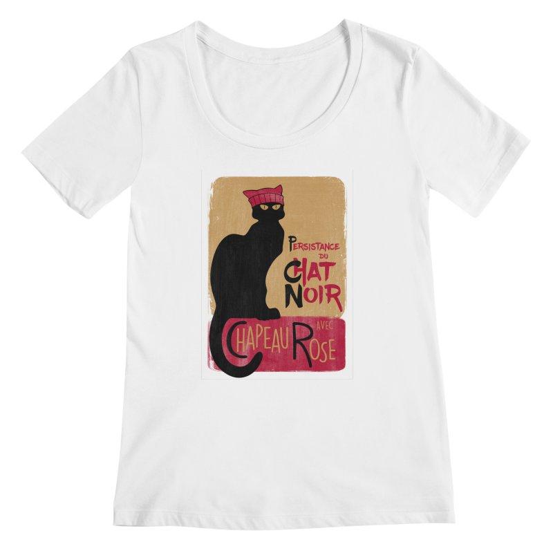 Persistance du Chat Noir avec Chapeau Rose Women's Regular Scoop Neck by Gritty Knits