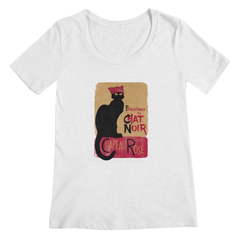 Persistance du Chat Noir avec Chapeau Rose Women's Scoop Neck by Gritty Knits