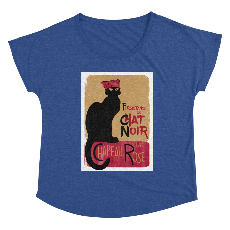 Persistance du Chat Noir avec Chapeau Rose Women's Dolman Scoop Neck by Gritty Knits