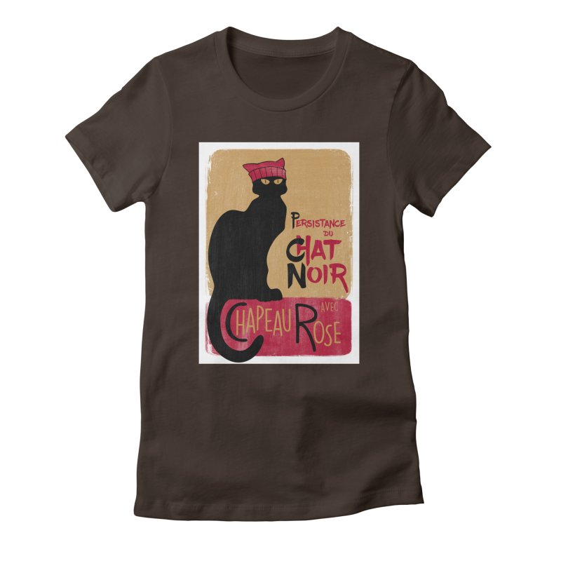 Persistance du Chat Noir avec Chapeau Rose Women's Fitted T-Shirt by Gritty Knits