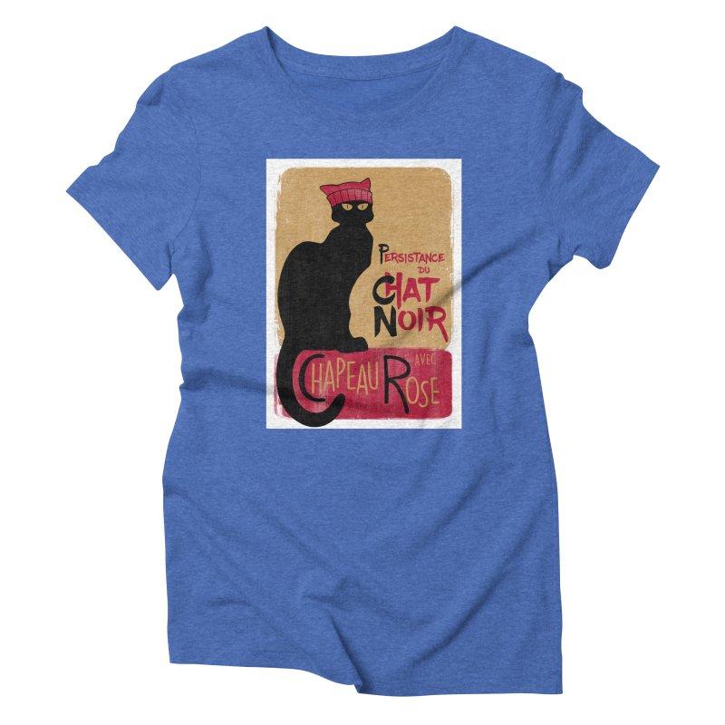 Persistance du Chat Noir avec Chapeau Rose Women's Triblend T-Shirt by Gritty Knits