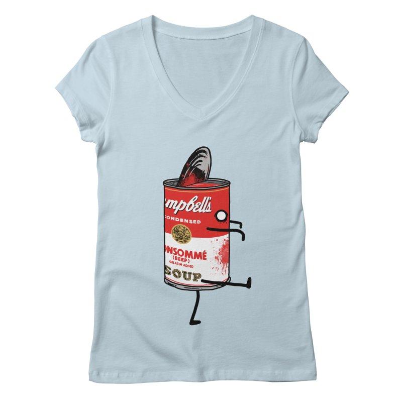 Zombie Tomato Soup Women's V-Neck by groch's Artist Shop