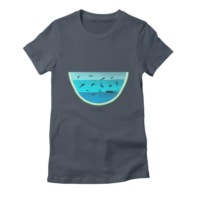Water Melon Women's Fitted T-Shirt by groch's Artist Shop