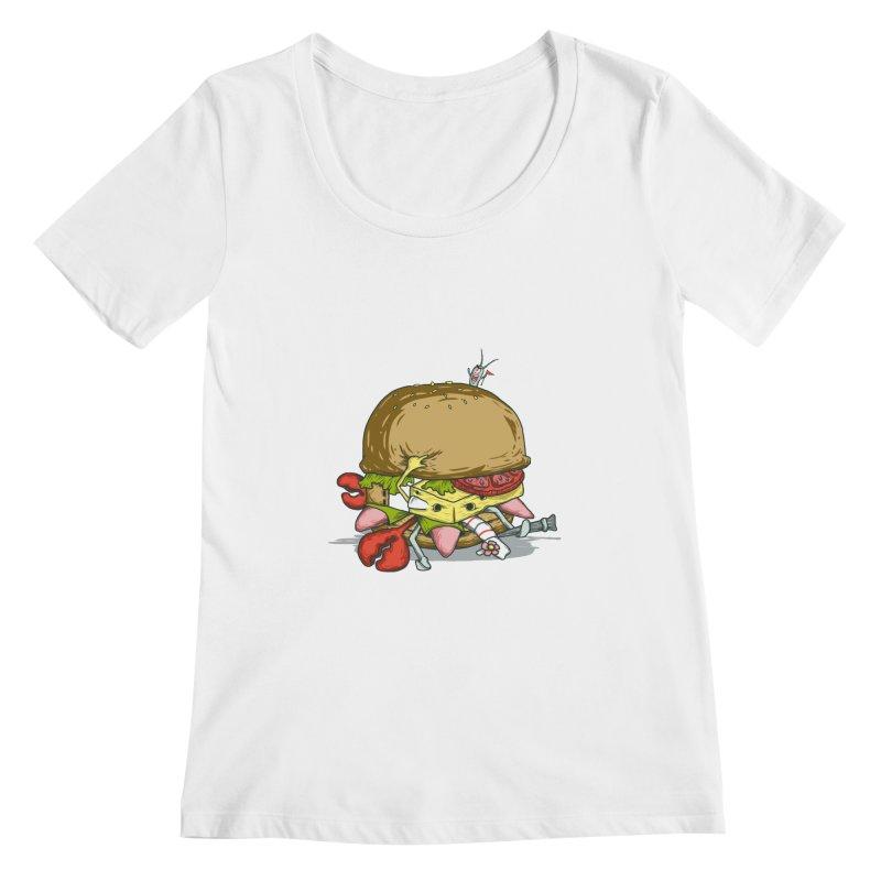 Chump Burger Women's Scoopneck by groch's Artist Shop