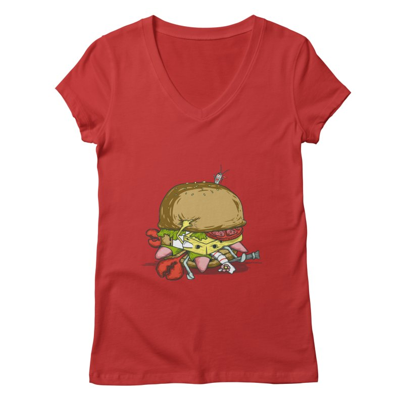 Chump Burger Women's V-Neck by groch's Artist Shop