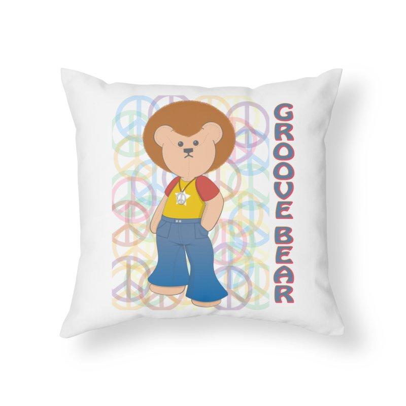 Groove Bear Home Throw Pillow by grumpyteds's Artist Shop