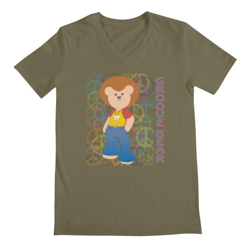 Groove Bear Men's Regular V-Neck by grumpyteds's Artist Shop