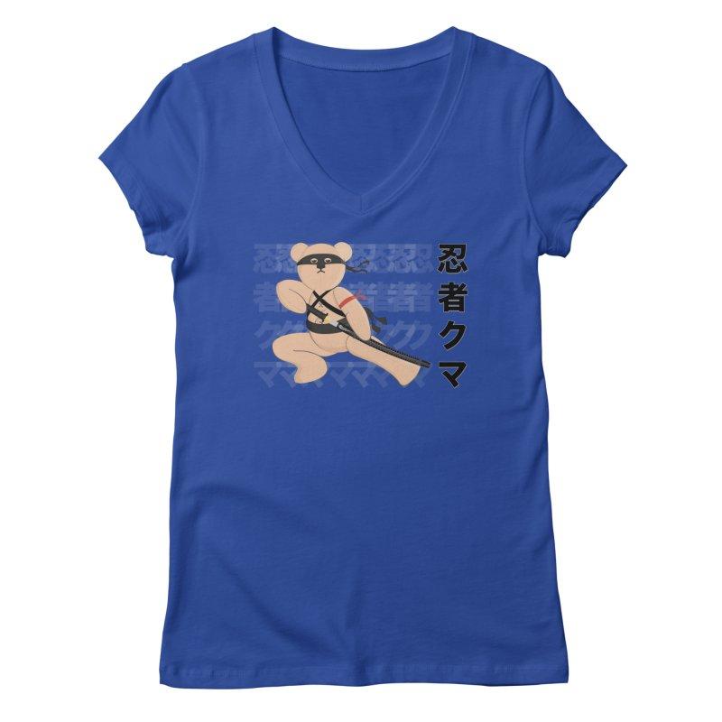 Ninja Bear Women's Regular V-Neck by grumpyteds's Artist Shop