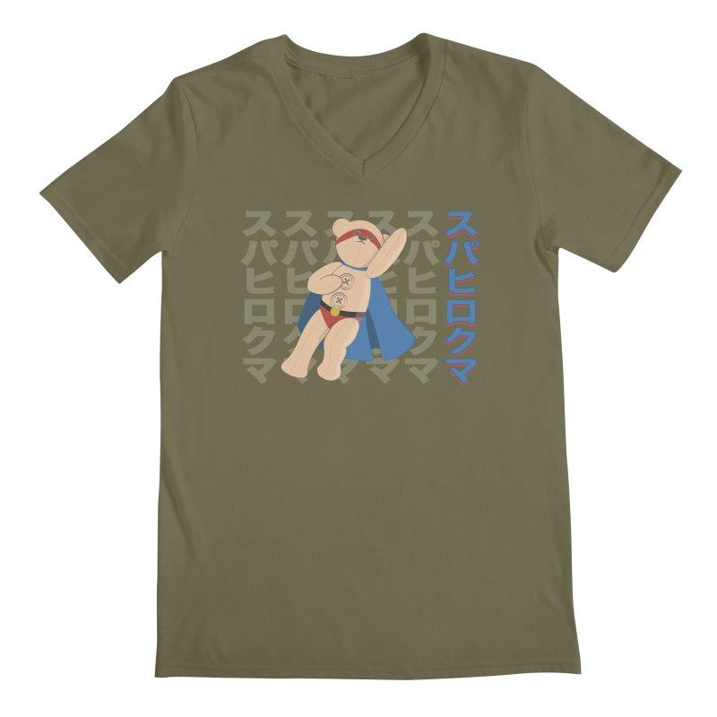 Superhero Bear Men's Regular V-Neck by grumpyteds's Artist Shop