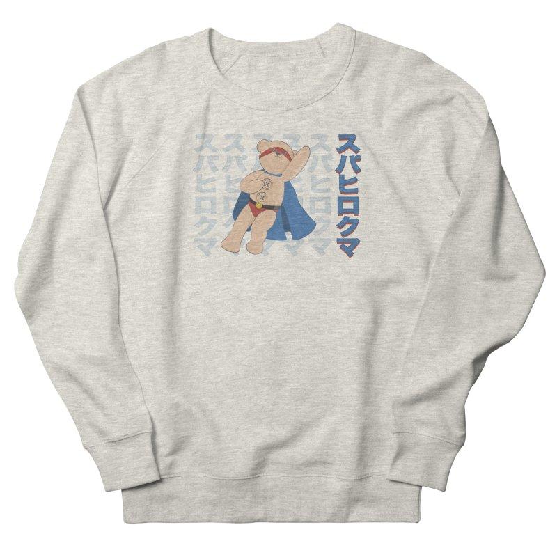 Superhero Bear Blue Women's French Terry Sweatshirt by grumpyteds's Artist Shop
