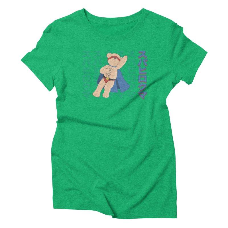 Superhero Bear Blue Women's Triblend T-Shirt by grumpyteds's Artist Shop