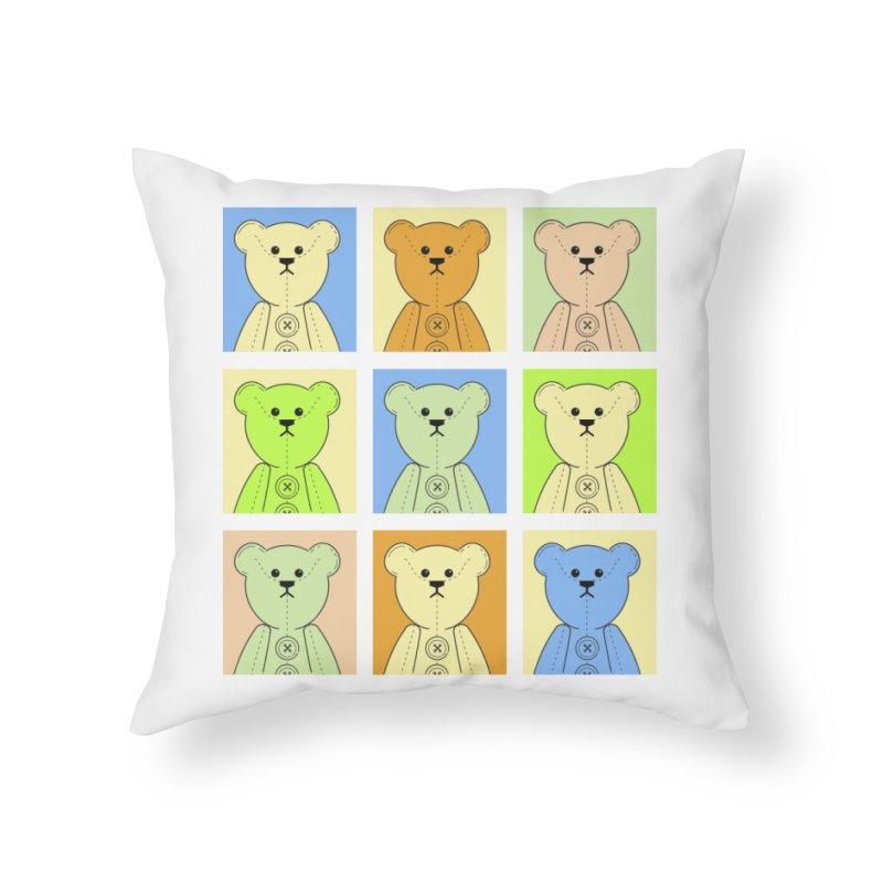 Pastel Bear Block Home Throw Pillow by grumpyteds's Artist Shop