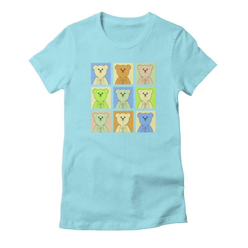 Pastel Bear Block Women's Fitted T-Shirt by grumpyteds's Artist Shop