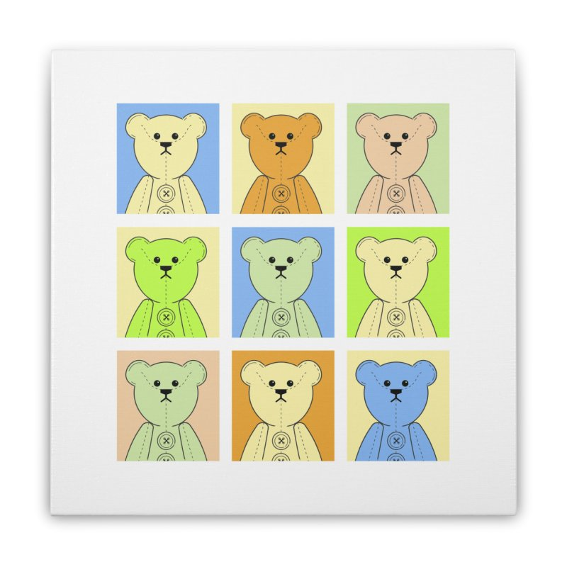 Pastel Bear Block Home Stretched Canvas by grumpyteds's Artist Shop