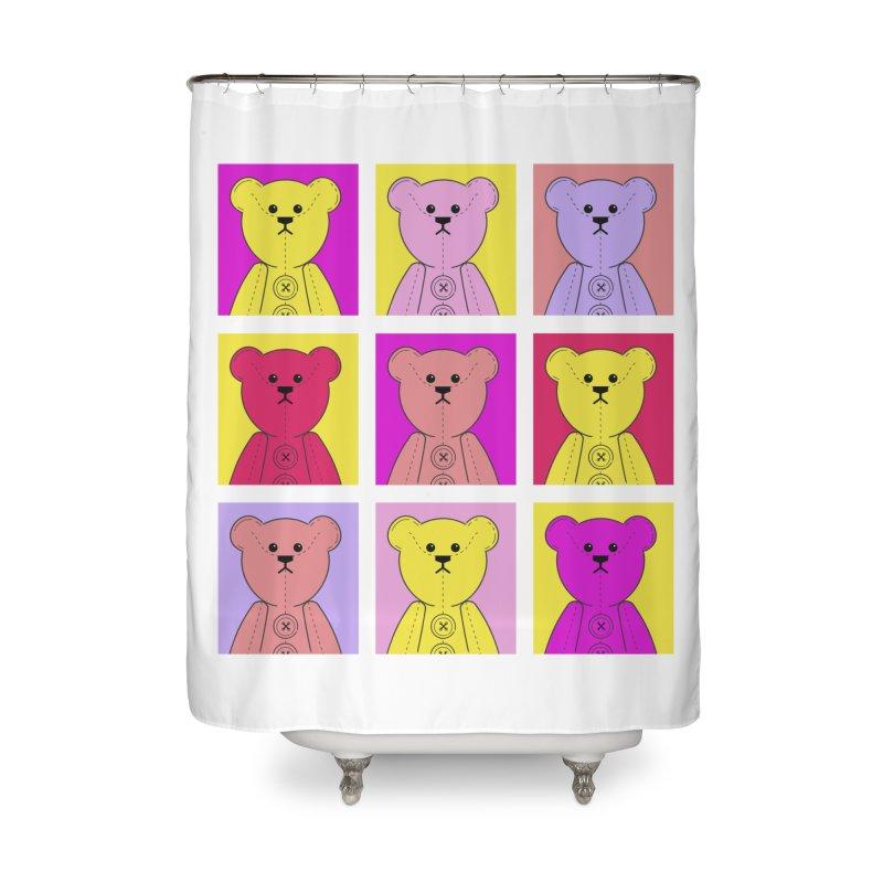 Bright Bear Block Home Shower Curtain by grumpyteds's Artist Shop