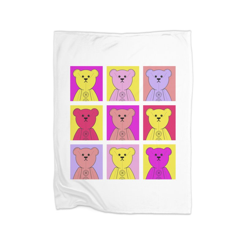 Bright Bear Block Home Fleece Blanket Blanket by grumpyteds's Artist Shop