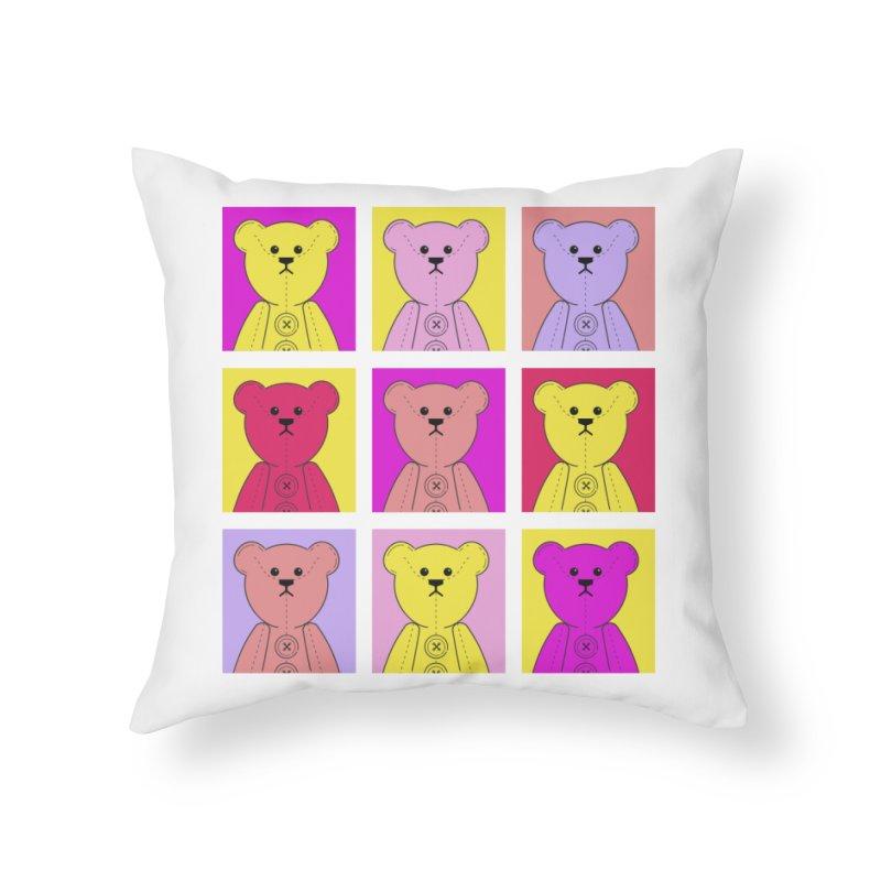 Bright Bear Block Home Throw Pillow by grumpyteds's Artist Shop