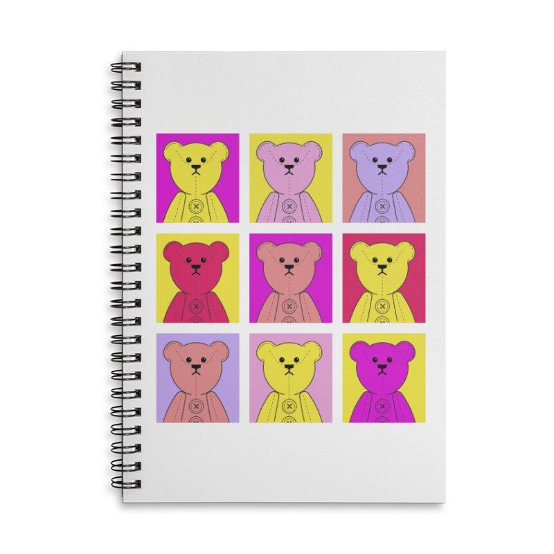 Bright Bear Block Accessories Lined Spiral Notebook by grumpyteds's Artist Shop