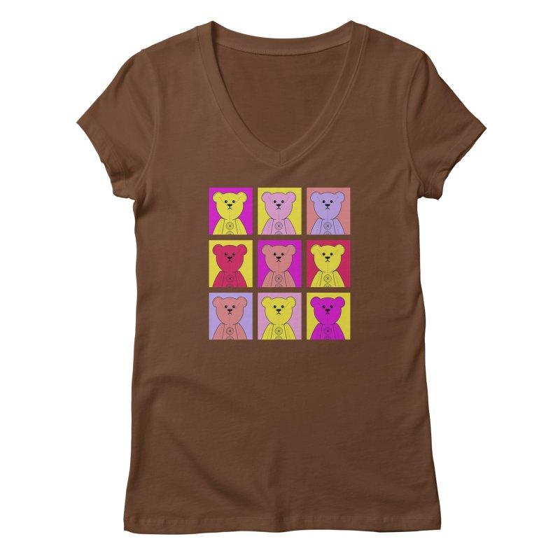 Bright Bear Block Women's Regular V-Neck by grumpyteds's Artist Shop