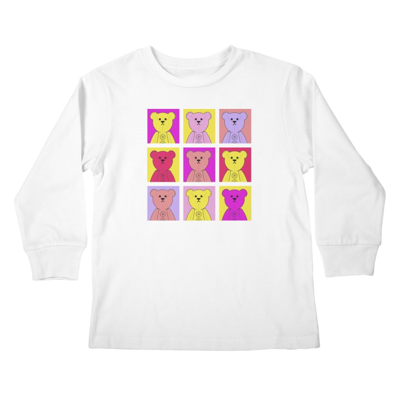 Bright Bear Block Kids Longsleeve T-Shirt by grumpyteds's Artist Shop