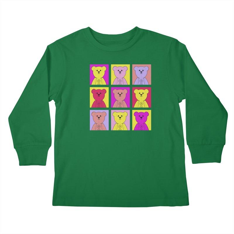 Bright Bear Block Kids Longsleeve T-Shirt by grumpyteds's Artist Shop