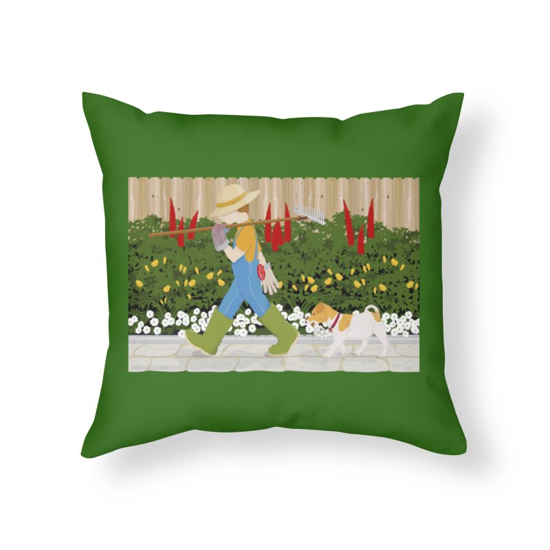 Junior Gardeners Home Throw Pillow by grumpyteds's Artist Shop