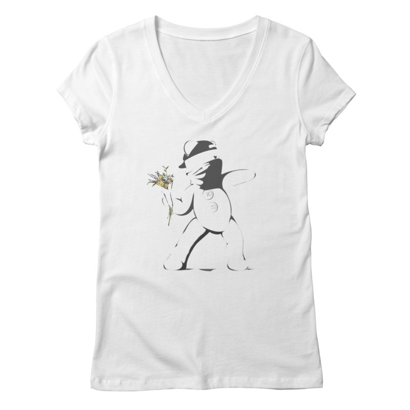 Graffiti Bear Women's Regular V-Neck by grumpyteds's Artist Shop