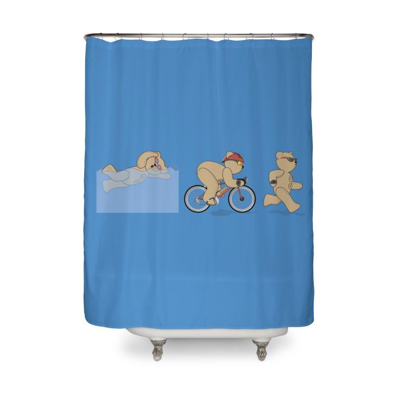 Triathlon Bear Home Shower Curtain by grumpyteds's Artist Shop