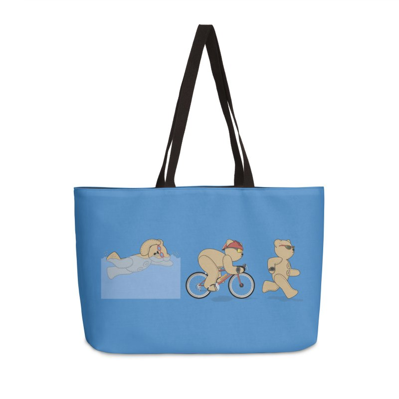 Triathlon Bear Accessories Weekender Bag Bag by grumpyteds's Artist Shop
