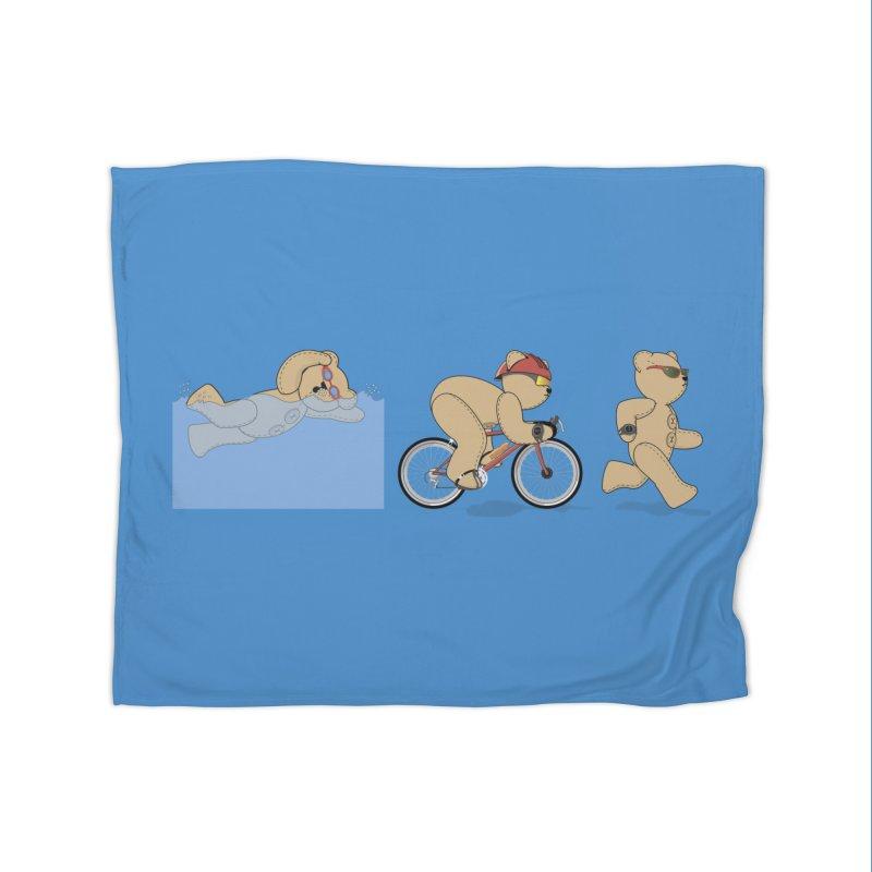 Triathlon Bear Home Fleece Blanket Blanket by grumpyteds's Artist Shop