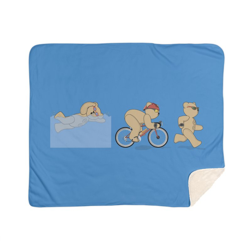 Triathlon Bear Home Sherpa Blanket Blanket by grumpyteds's Artist Shop