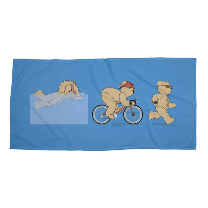 Triathlon Bear Accessories Beach Towel by grumpyteds's Artist Shop