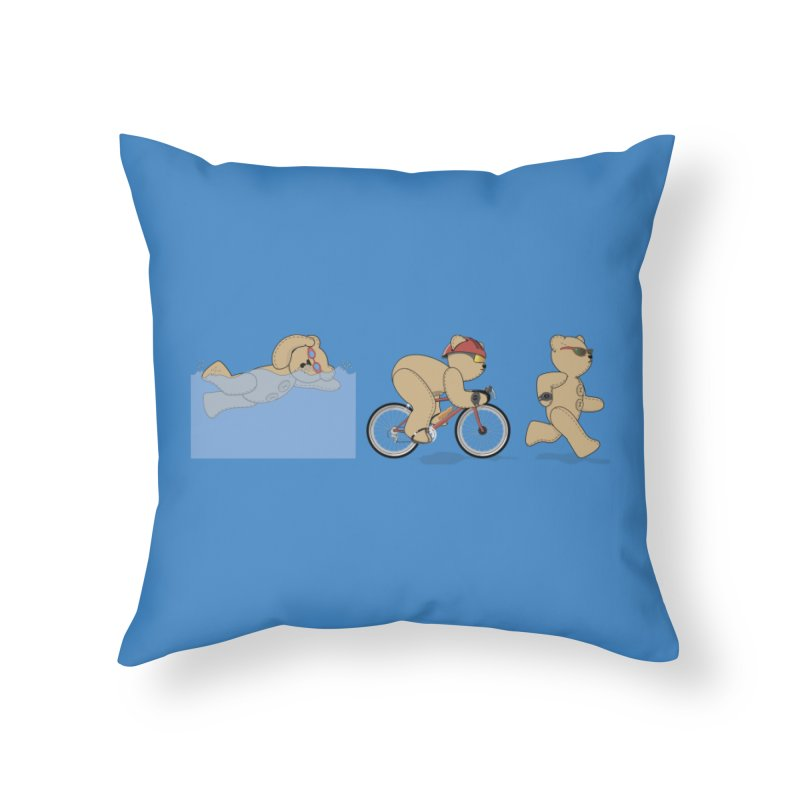 Triathlon Bear Home Throw Pillow by grumpyteds's Artist Shop