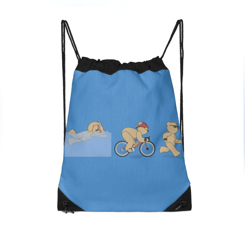Triathlon Bear Accessories Drawstring Bag Bag by grumpyteds's Artist Shop