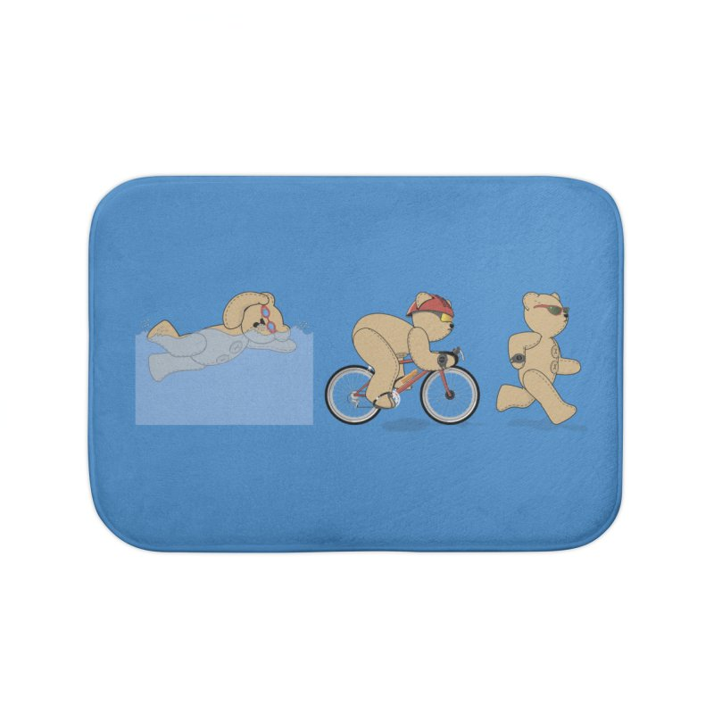 Triathlon Bear Home Bath Mat by grumpyteds's Artist Shop