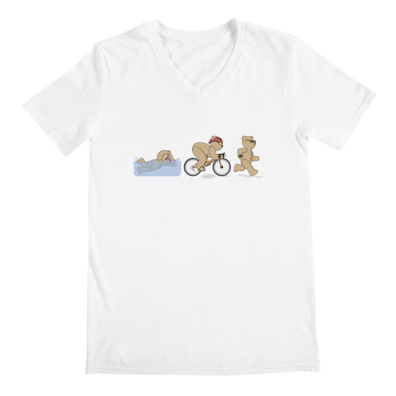 Triathlon Bear Men's V-Neck by grumpyteds's Artist Shop