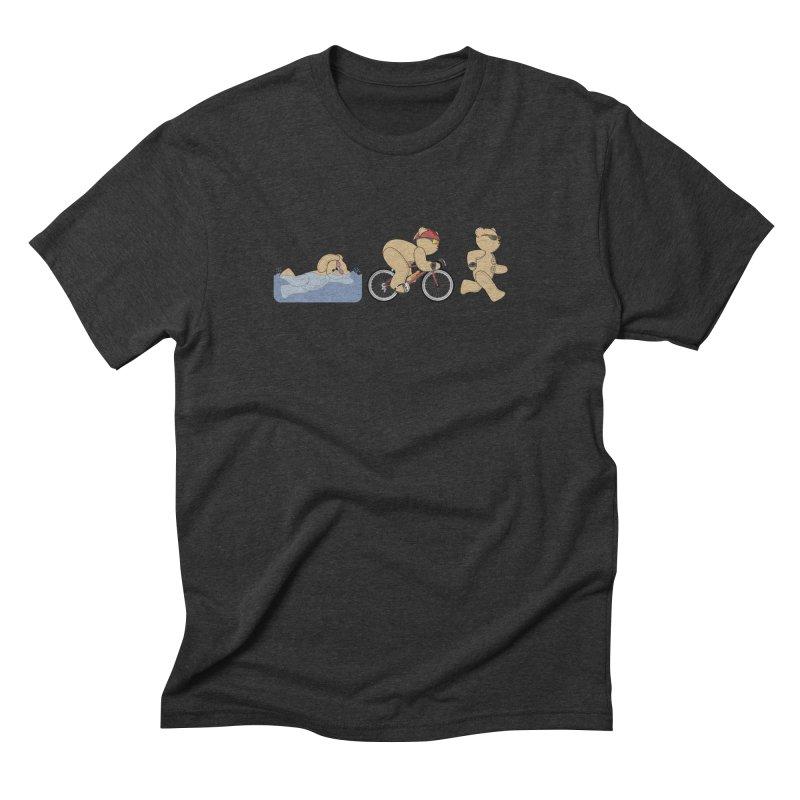 Triathlon Bear Men's Triblend T-Shirt by grumpyteds's Artist Shop
