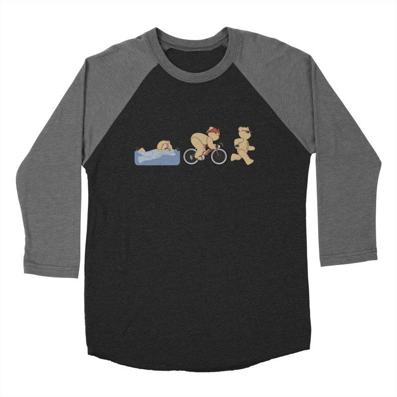 Triathlon Bear Men's Baseball Triblend Longsleeve T-Shirt by grumpyteds's Artist Shop