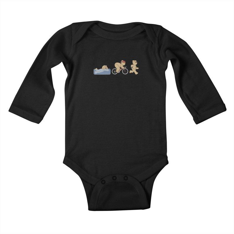 Triathlon Bear Kids Baby Longsleeve Bodysuit by grumpyteds's Artist Shop