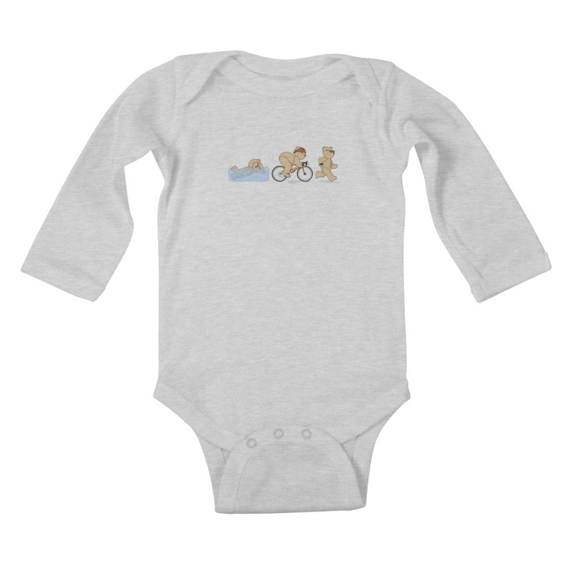 Triathlon Bear Kids Baby Longsleeve Bodysuit by grumpyteds's Artist Shop