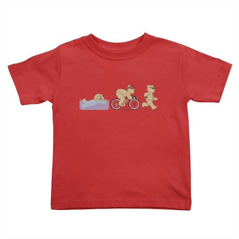 Triathlon Bear Kids Toddler T-Shirt by grumpyteds's Artist Shop