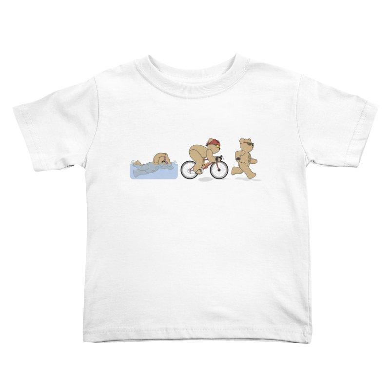 Triathlon Bear Kids Toddler T-Shirt by grumpyteds's Artist Shop