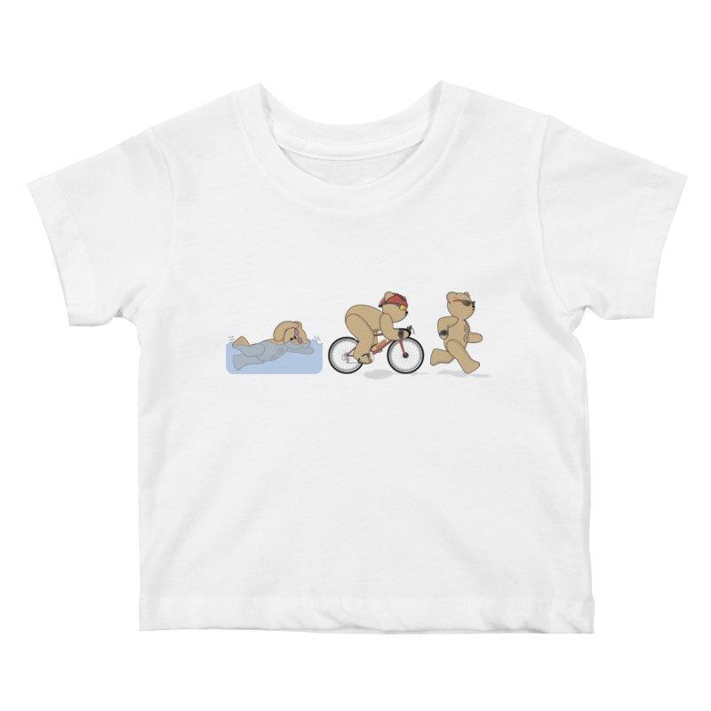 Triathlon Bear Kids Baby T-Shirt by grumpyteds's Artist Shop