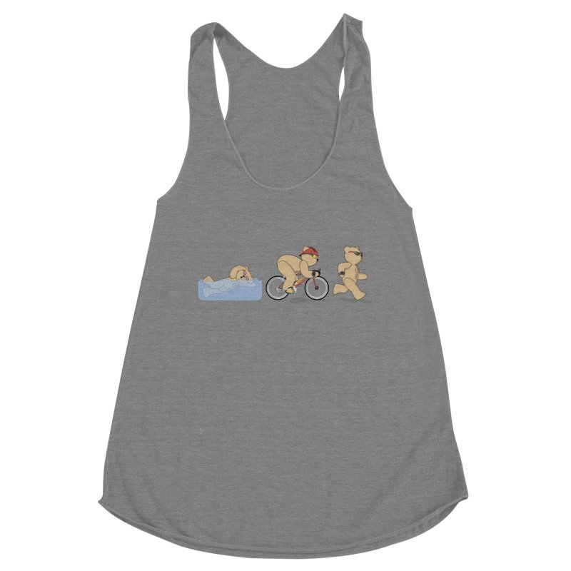 Triathlon Bear Women's Racerback Triblend Tank by grumpyteds's Artist Shop